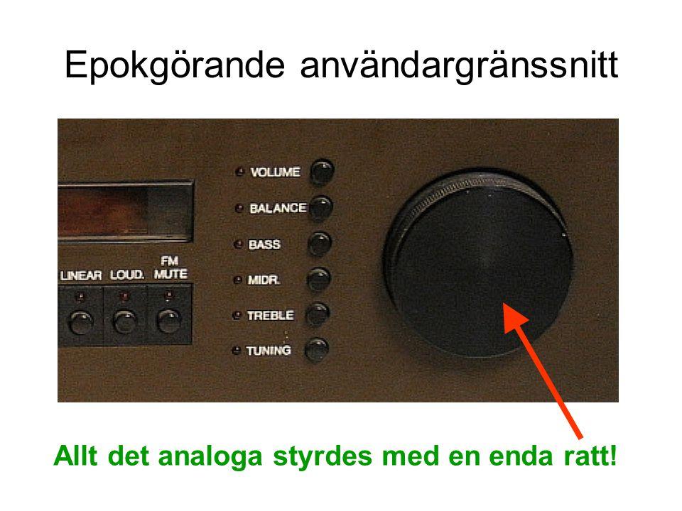 Epokgörande användargränssnitt Allt det analoga styrdes med en enda ratt!