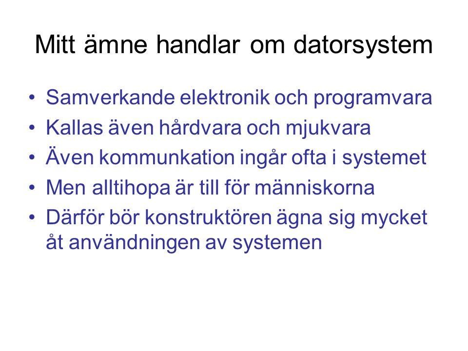 Mitt ämne handlar om datorsystem Samverkande elektronik och programvara Kallas även hårdvara och mjukvara Även kommunkation ingår ofta i systemet Men