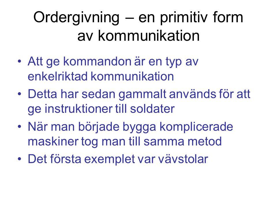 Ordergivning – en primitiv form av kommunikation Att ge kommandon är en typ av enkelriktad kommunikation Detta har sedan gammalt används för att ge in
