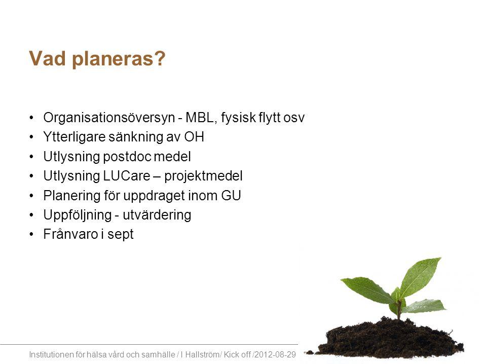 Institutionen för hälsa vård och samhälle / I Hallström/ Kick off /2012-08-29 Vad planeras? Organisationsöversyn - MBL, fysisk flytt osv Ytterligare s