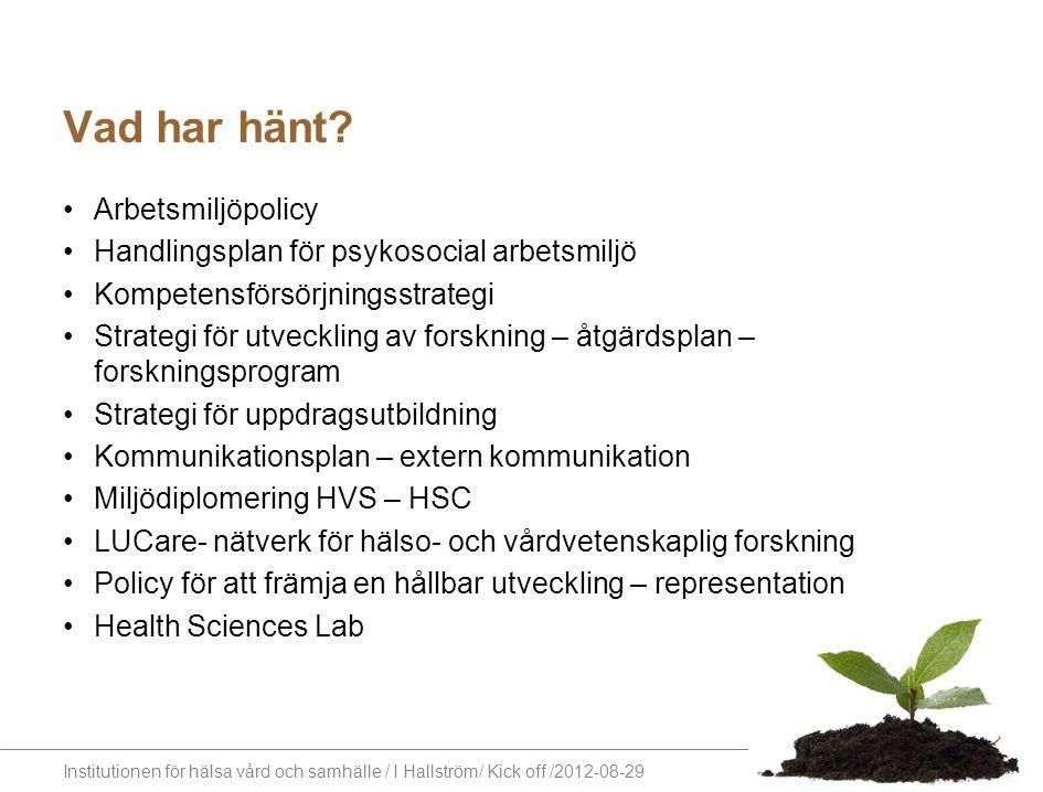 Institutionen för hälsa vård och samhälle / I Hallström/ Kick off /2012-08-29 Vad har hänt? Arbetsmiljöpolicy Handlingsplan för psykosocial arbetsmilj