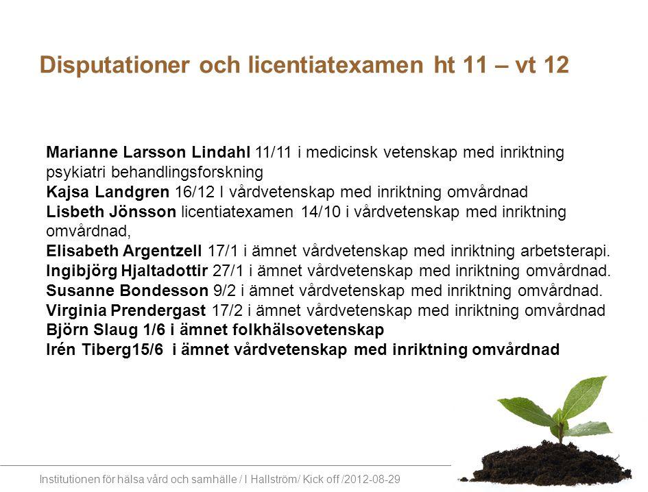 Institutionen för hälsa vård och samhälle / I Hallström/ Kick off /2012-08-29 Disputationer och licentiatexamen ht 11 – vt 12 Marianne Larsson Lindahl