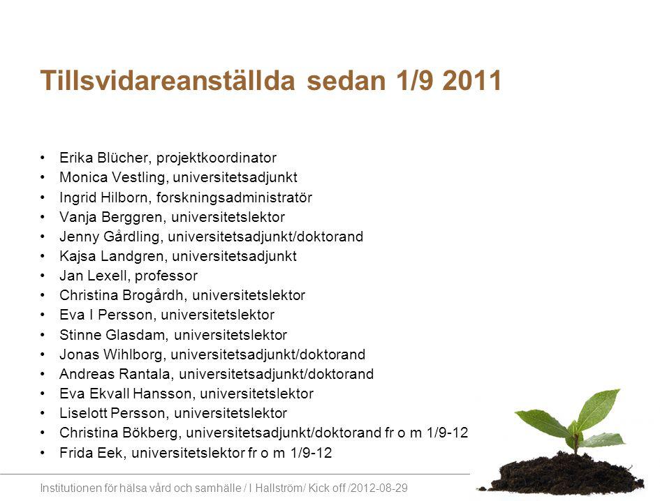 Institutionen för hälsa vård och samhälle / I Hallström/ Kick off /2012-08-29 Tillsvidareanställda sedan 1/9 2011 Erika Blücher, projektkoordinator Mo