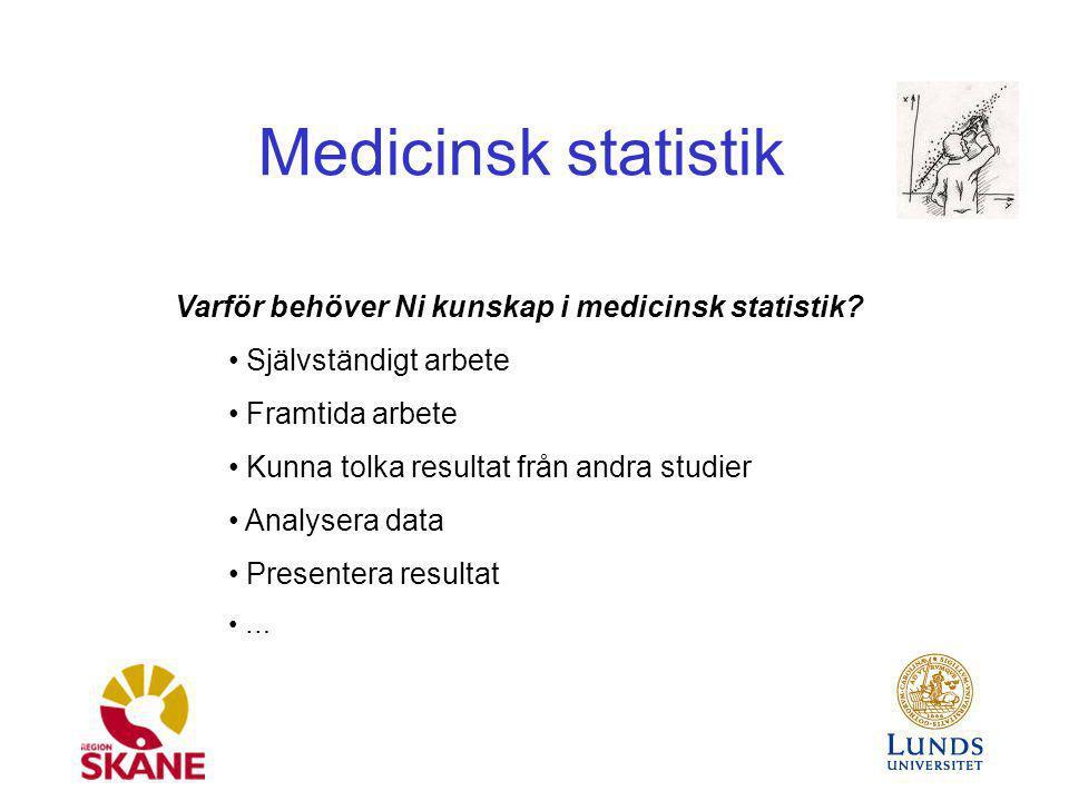 Medicinsk statistik Varför behöver Ni kunskap i medicinsk statistik? Självständigt arbete Framtida arbete Kunna tolka resultat från andra studier Anal
