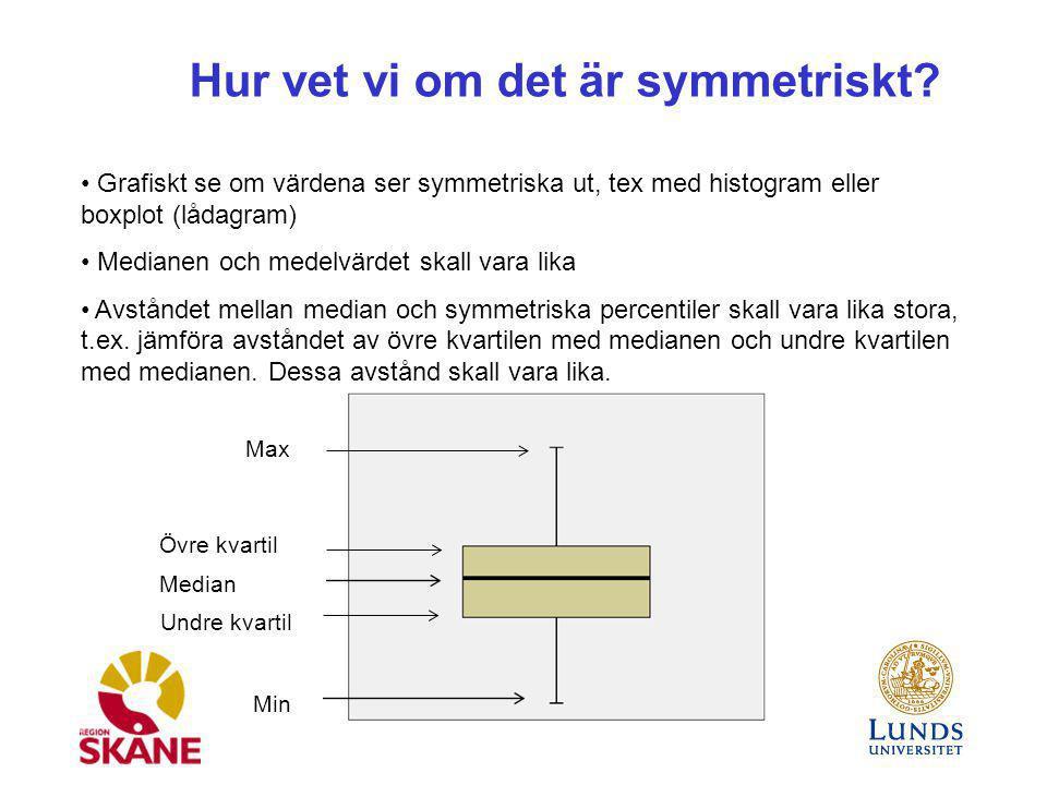 Hur vet vi om det är symmetriskt? Grafiskt se om värdena ser symmetriska ut, tex med histogram eller boxplot (lådagram) Medianen och medelvärdet skall