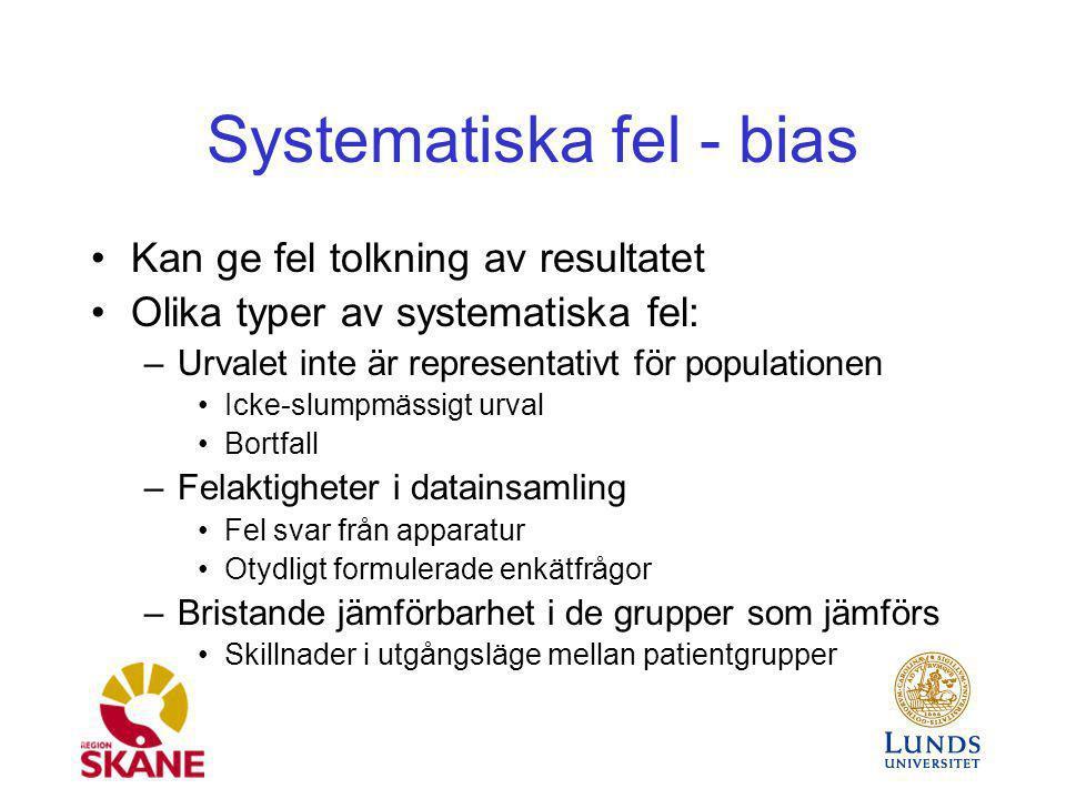 Systematiska fel - bias Kan ge fel tolkning av resultatet Olika typer av systematiska fel: –Urvalet inte är representativt för populationen Icke-slump