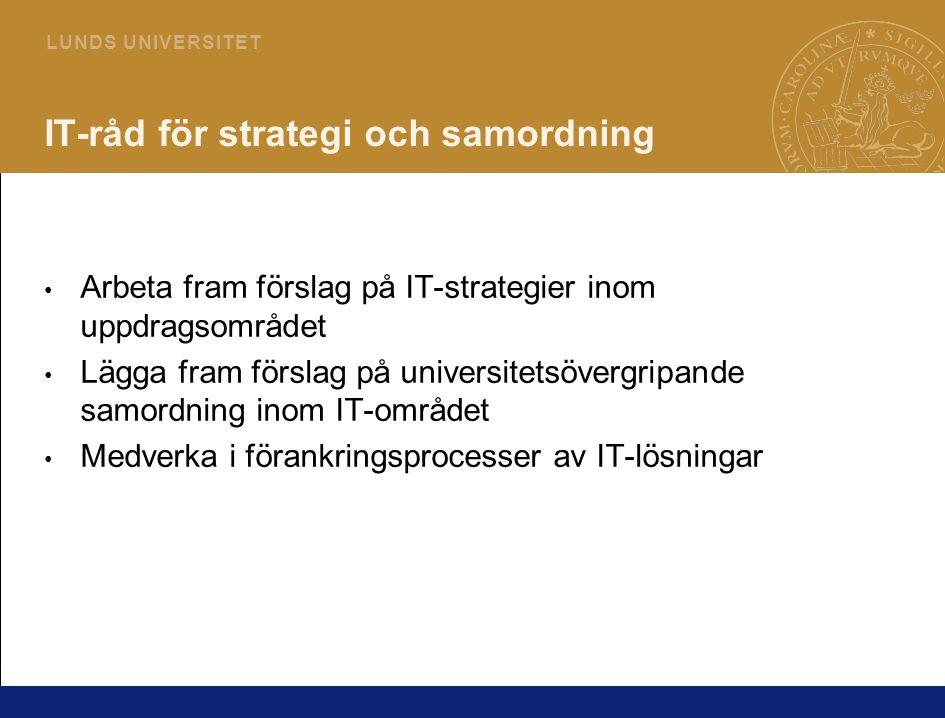 5 L U N D S U N I V E R S I T E T IT-råd för strategi och samordning Arbeta fram förslag på IT-strategier inom uppdragsområdet Lägga fram förslag på universitetsövergripande samordning inom IT-området Medverka i förankringsprocesser av IT-lösningar
