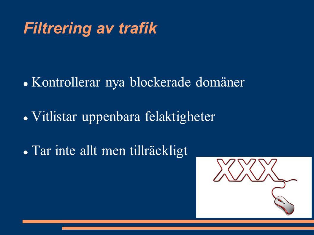 Filtrering av trafik Kontrollerar nya blockerade domäner Vitlistar uppenbara felaktigheter Tar inte allt men tillräckligt