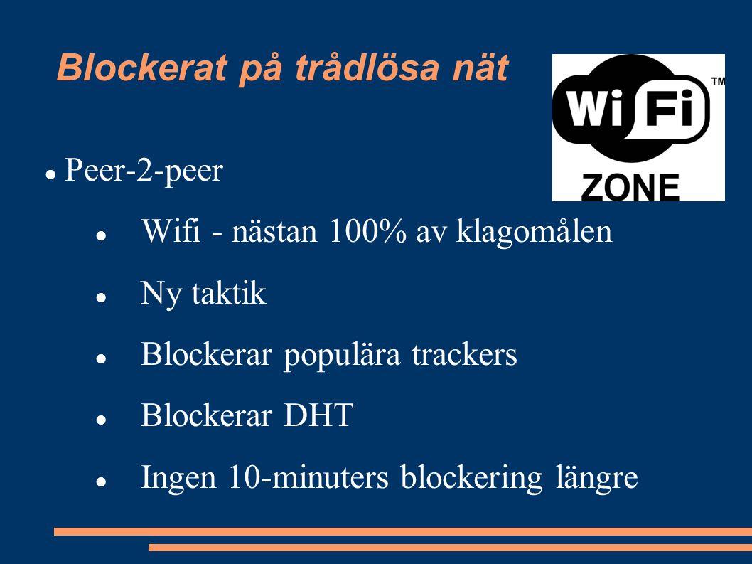 Blockerat på trådlösa nät Peer-2-peer Wifi - nästan 100% av klagomålen Ny taktik Blockerar populära trackers Blockerar DHT Ingen 10-minuters blockering längre