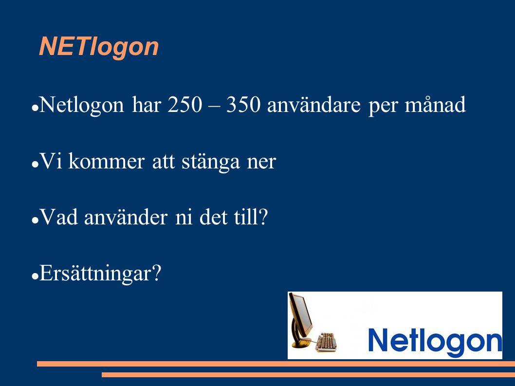 NETlogon Netlogon har 250 – 350 användare per månad Vi kommer att stänga ner Vad använder ni det till.