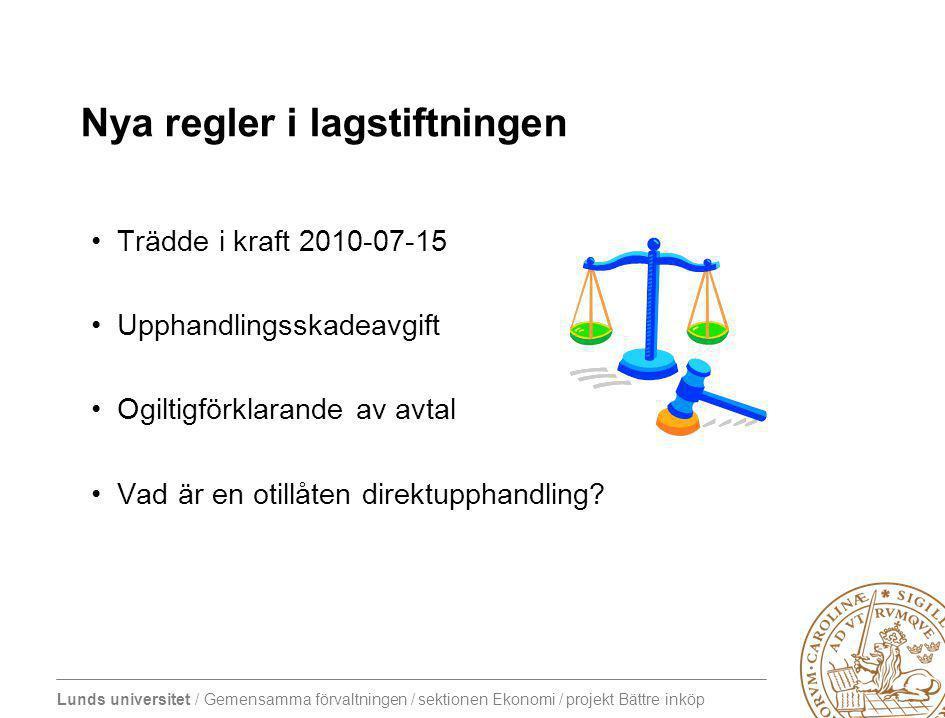 Lunds universitet / Gemensamma förvaltningen / sektionen Ekonomi / projekt Bättre inköp Nya regler i lagstiftningen Trädde i kraft 2010-07-15 Upphandlingsskadeavgift Ogiltigförklarande av avtal Vad är en otillåten direktupphandling?