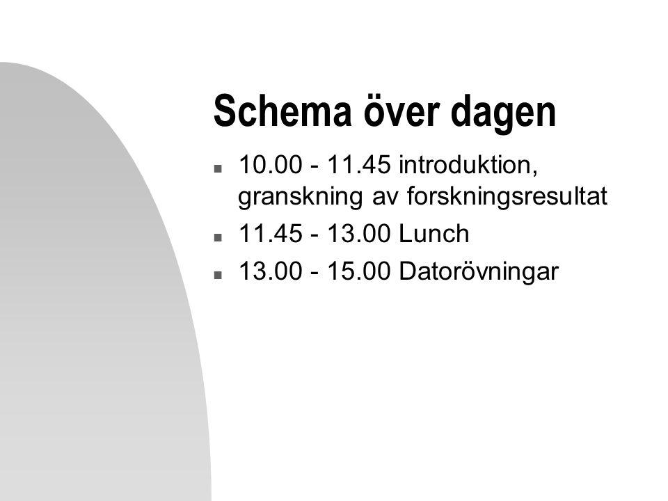 Schema över dagen n 10.00 - 11.45 introduktion, granskning av forskningsresultat n 11.45 - 13.00 Lunch n 13.00 - 15.00 Datorövningar