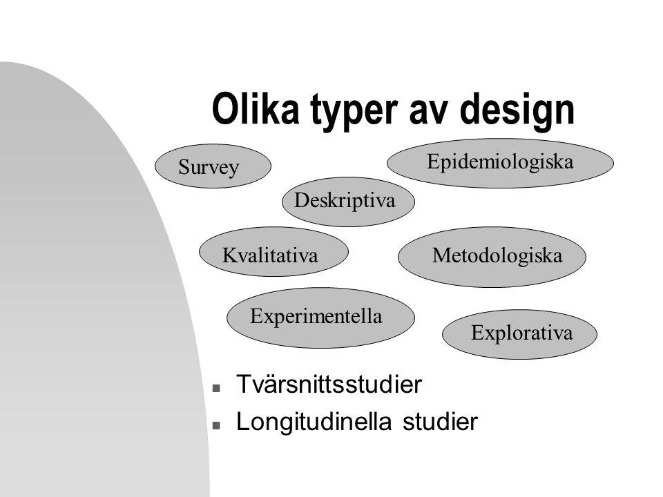 Olika typer av design n Tvärsnittsstudier n Longitudinella studier Experimentella Kvalitativa Survey Epidemiologiska Explorativa Deskriptiva Metodolog