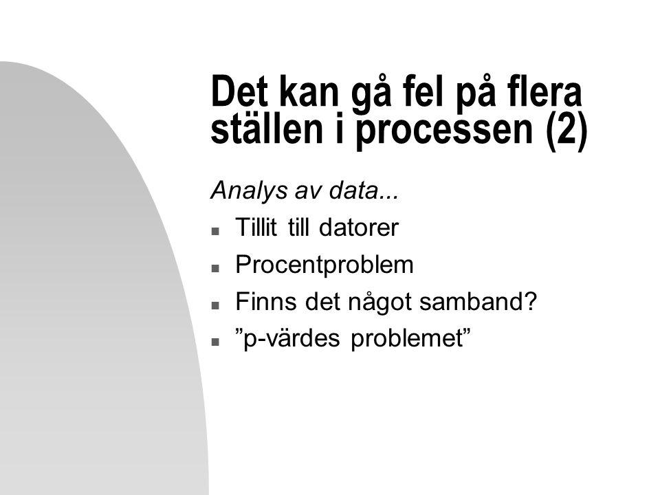 """Det kan gå fel på flera ställen i processen (2) Analys av data... n Tillit till datorer n Procentproblem n Finns det något samband? n """"p-värdes proble"""
