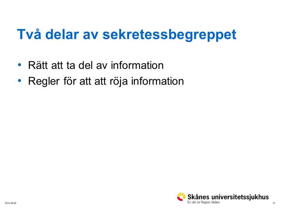 102014-08-23 Två delar av sekretessbegreppet Rätt att ta del av information Regler för att att röja information