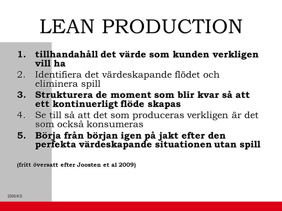 2006/KS LEAN PRODUCTION 1.tillhandahåll det värde som kunden verkligen vill ha 2.Identifiera det värdeskapande flödet och eliminera spill 3.Strukturer