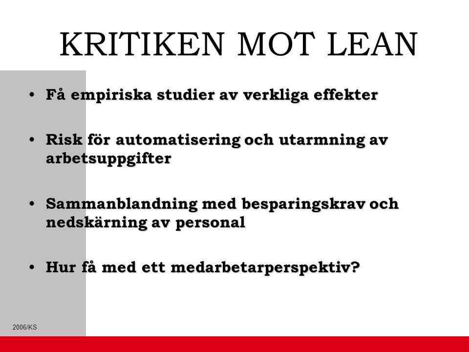 2006/KS KRITIKEN MOT LEAN Få empiriska studier av verkliga effekter Få empiriska studier av verkliga effekter Risk för automatisering och utarmning av
