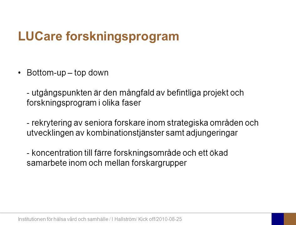 Institutionen för hälsa vård och samhälle / I Hallström/ Kick off/2010-08-25 LUCare forskningsprogram Bottom-up – top down - utgångspunkten är den mångfald av befintliga projekt och forskningsprogram i olika faser - rekrytering av seniora forskare inom strategiska områden och utvecklingen av kombinationstjänster samt adjungeringar - koncentration till färre forskningsområde och ett ökad samarbete inom och mellan forskargrupper