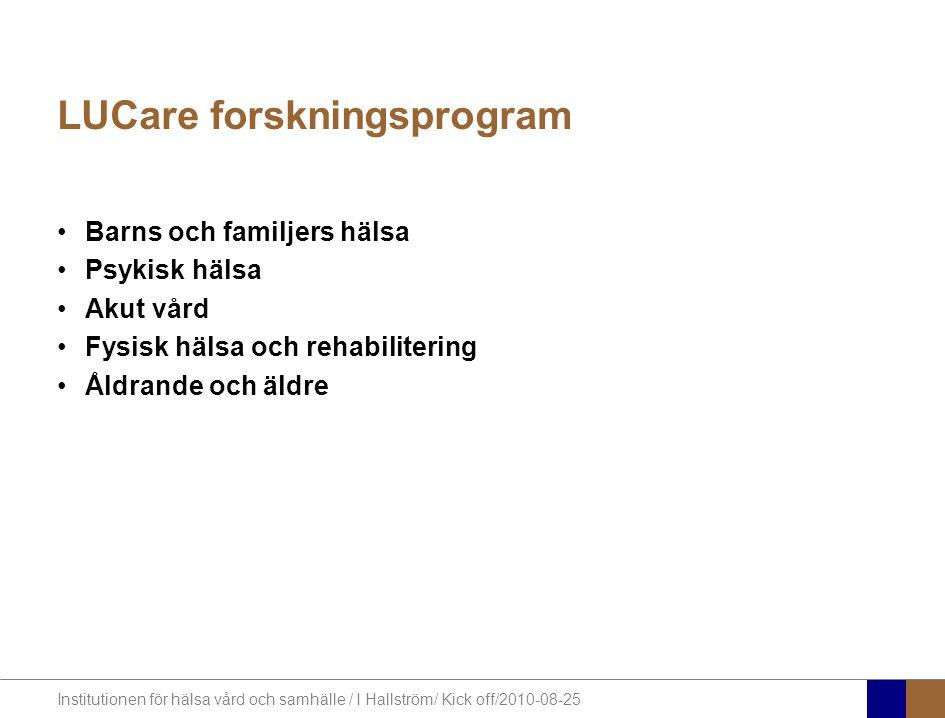 Institutionen för hälsa vård och samhälle / I Hallström/ Kick off/2010-08-25 LUCare forskningsprogram Barns och familjers hälsa Psykisk hälsa Akut vård Fysisk hälsa och rehabilitering Åldrande och äldre