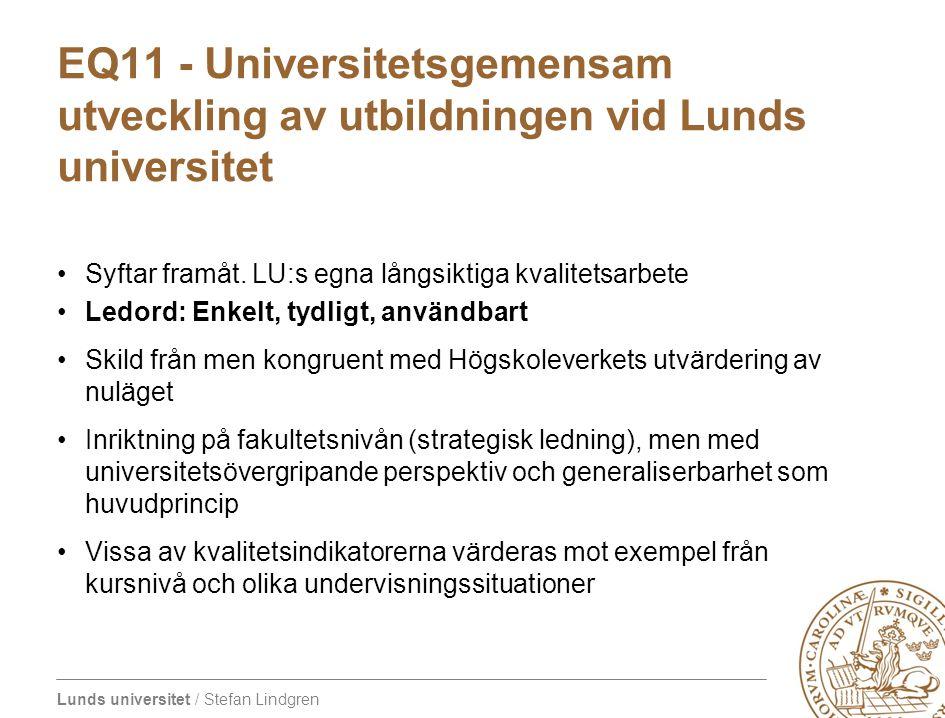 Lunds universitet / Stefan Lindgren EQ11 - Universitetsgemensam utveckling av utbildningen vid Lunds universitet Syftar framåt. LU:s egna långsiktiga