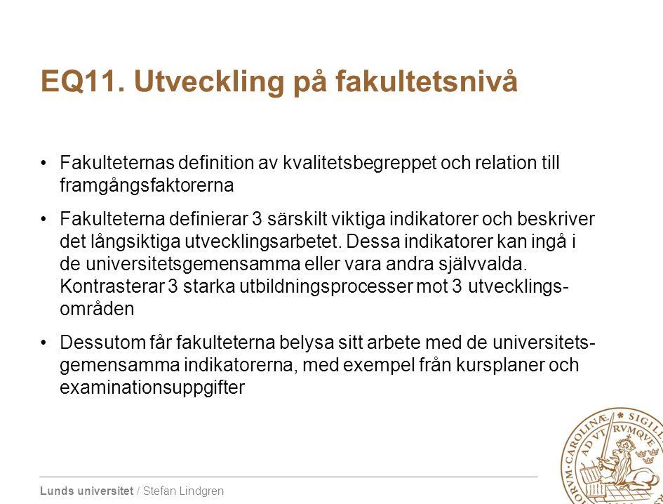 Lunds universitet / Stefan Lindgren EQ11. Utveckling på fakultetsnivå Fakulteternas definition av kvalitetsbegreppet och relation till framgångsfaktor