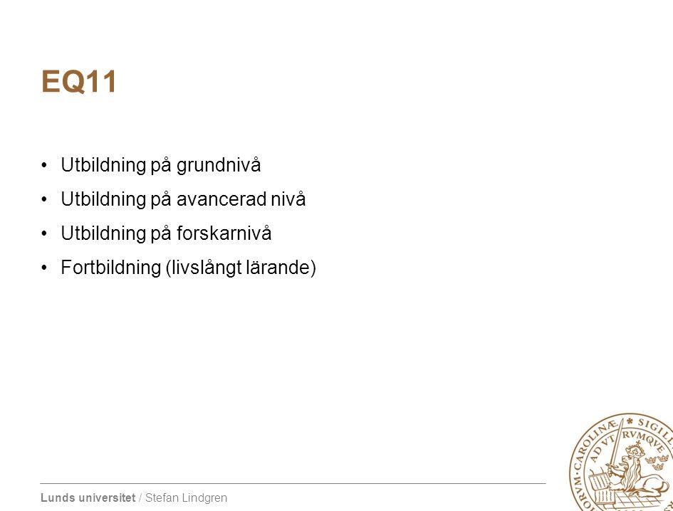 Lunds universitet / Stefan Lindgren EQ11 Utbildning på grundnivå Utbildning på avancerad nivå Utbildning på forskarnivå Fortbildning (livslångt lärand