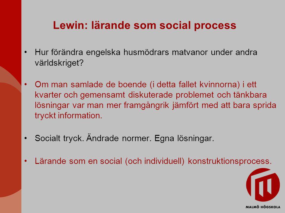 Lewin: lärande som social process Hur förändra engelska husmödrars matvanor under andra världskriget.