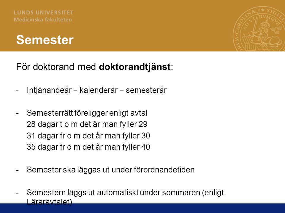 Semester För doktorand med doktorandtjänst: -Intjänandeår = kalenderår = semesterår -Semesterrätt föreligger enligt avtal 28 dagar t o m det år man fy