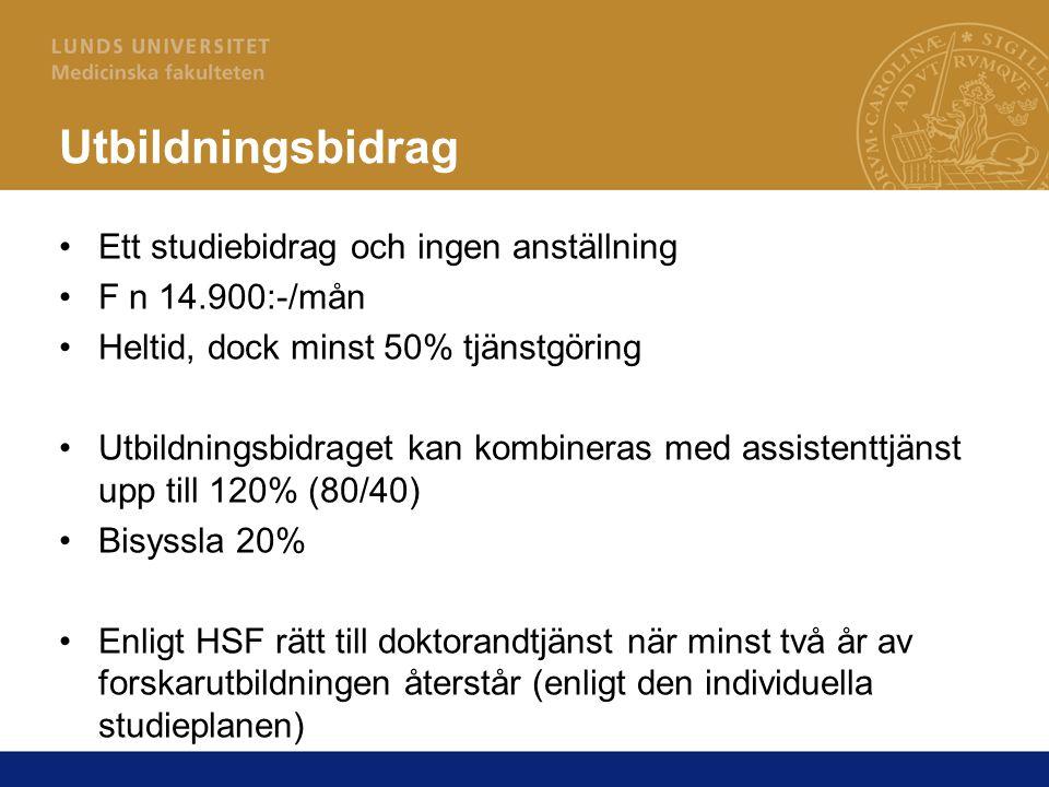 Doktorandtjänst Anställning Omfattas av arbetsrättslagar och kollektivavtal Lön enligt Lokalt avtal för lönesättning av doktorand Ingångslön: 20.100:-/mån Efter 80 p +1.400:-/mån (intyg från handledare krävs) Efter 120 p +1.400:-/mån (intyg från handledare krävs) Dessutom uppräkning i samband med LU:s lönerevision