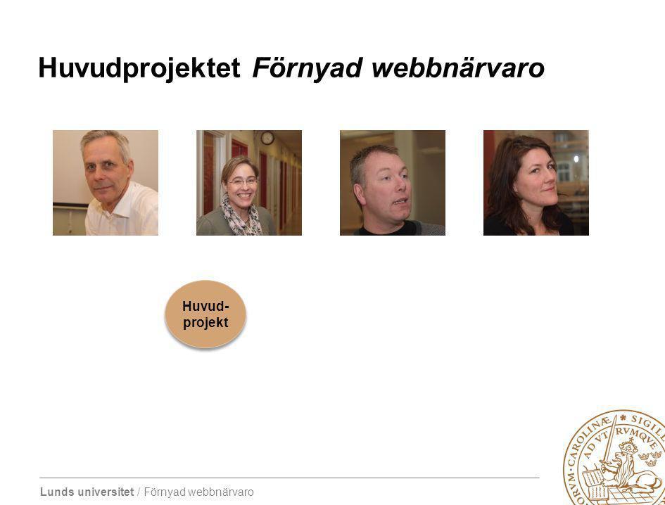 Lunds universitet / Förnyad webbnärvaro Huvudprojektet Förnyad webbnärvaro Huvud- projekt