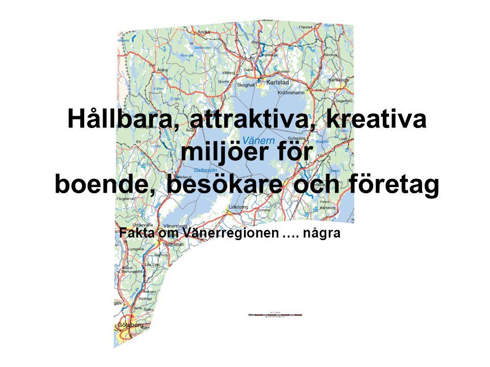 Hållbara, attraktiva, kreativa miljöer för boende, besökare och företag Fakta om Vänerregionen …. några