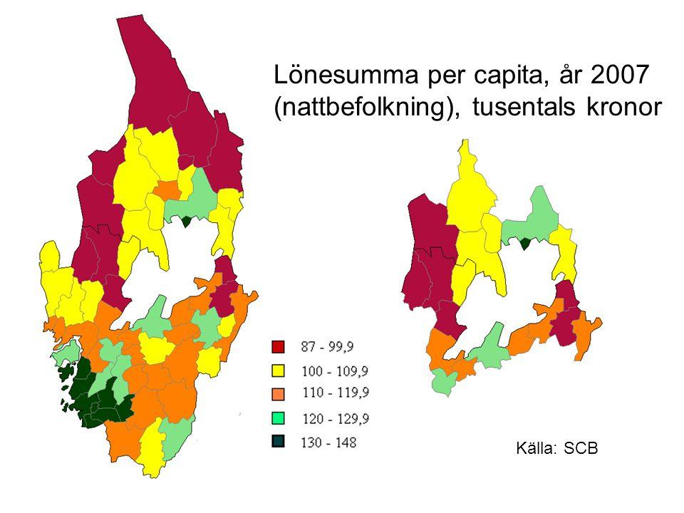 Lönesumma per capita, år 2007 (nattbefolkning), tusentals kronor Källa: SCB