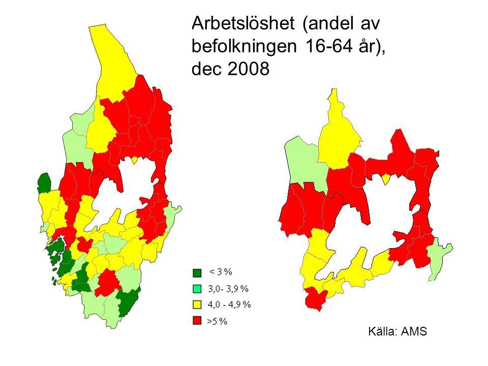 Arbetslöshet (andel av befolkningen 16-64 år), dec 2008 Källa: AMS