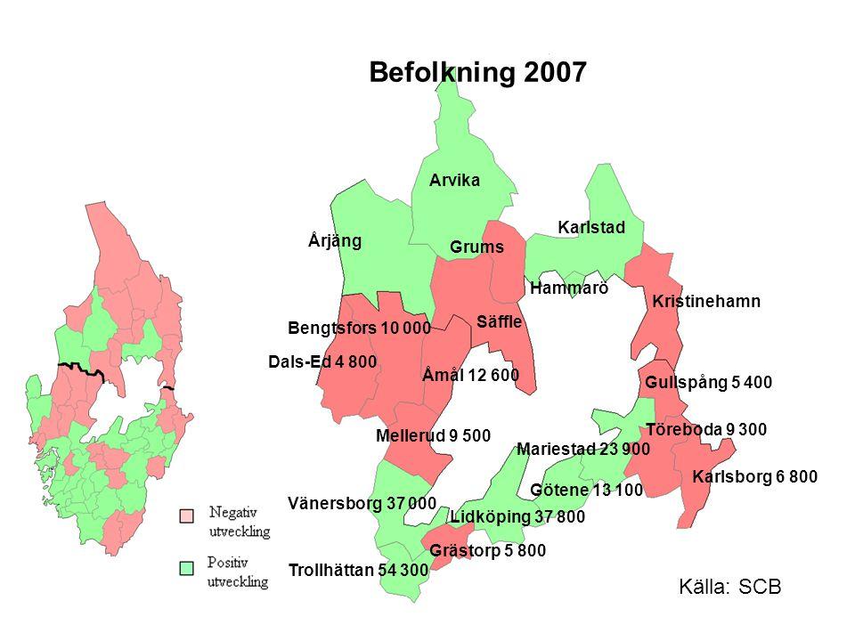 Befolkning 2007 Årjäng Arvika Dals-Ed 4 800 Säffle Karlstad Åmål 12 600 Hammarö Mariestad 23 900 Töreboda 9 300 Götene 13 100 Lidköping 37 800 Karlsbo