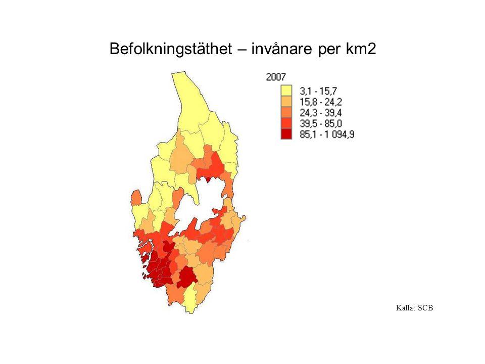 Befolkningstäthet – invånare per km2 Källa: SCB