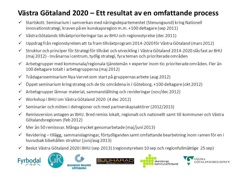 Västra Götaland 2020 – Inriktning och genomförande Västra Götaland 2020 är det huvudsakliga verktyget för att i samverkan i Västra Götaland genomföra vår gemensamma vision – Det goda livet Beredningen för hållbar utveckling tar ansvar för att strategin genomförs, följs upp och utvärderas.
