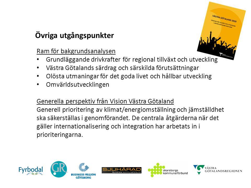 Övriga utgångspunkter Ram för bakgrundsanalysen Grundläggande drivkrafter för regional tillväxt och utveckling Västra Götalands särdrag och särskilda