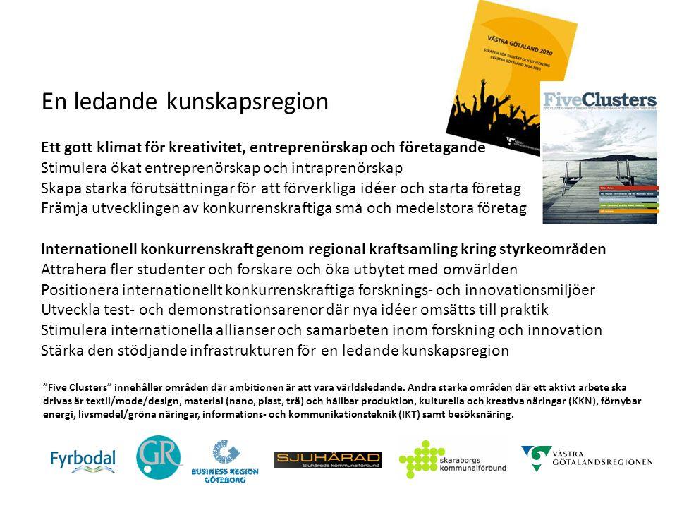 En ledande kunskapsregion Ett gott klimat för kreativitet, entreprenörskap och företagande Stimulera ökat entreprenörskap och intraprenörskap Skapa st