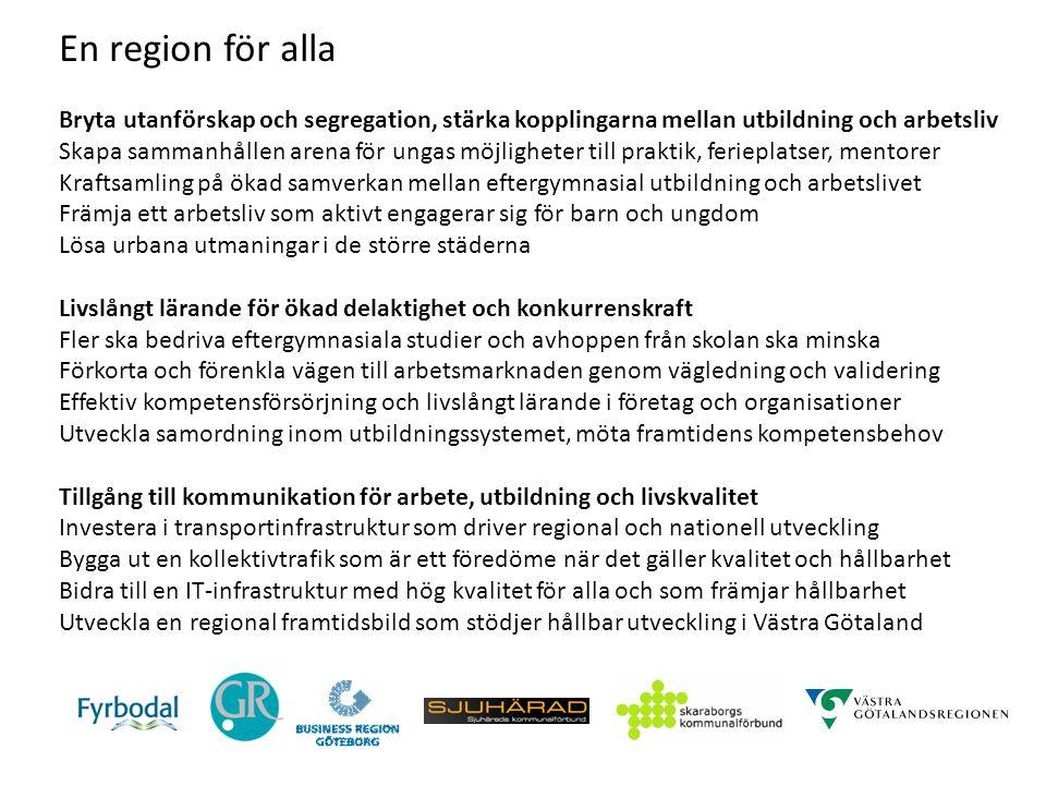 En region för alla Bryta utanförskap och segregation, stärka kopplingarna mellan utbildning och arbetsliv Skapa sammanhållen arena för ungas möjlighet
