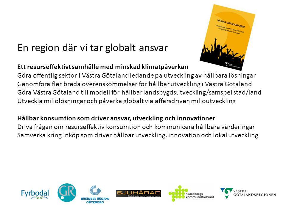 En region där vi tar globalt ansvar Ett resurseffektivt samhälle med minskad klimatpåverkan Göra offentlig sektor i Västra Götaland ledande på utveckl