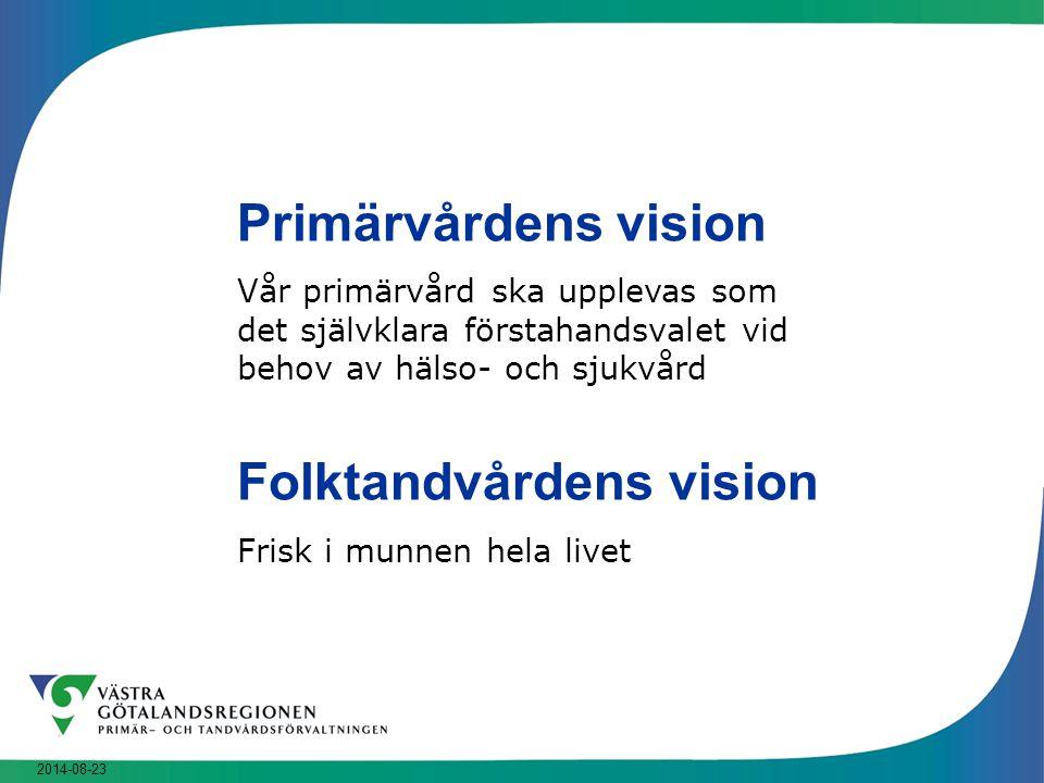 2014-08-23 Primärvårdens vision Vår primärvård ska upplevas som det självklara förstahandsvalet vid behov av hälso- och sjukvård Folktandvårdens visio