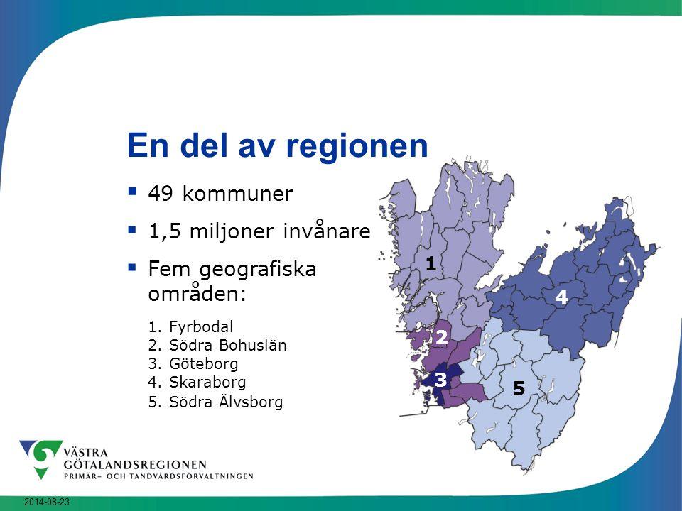 2014-08-23 En del av regionen  49 kommuner  1,5 miljoner invånare  Fem geografiska områden: 1.Fyrbodal 2.Södra Bohuslän 3.Göteborg 4.Skaraborg 5.Sö