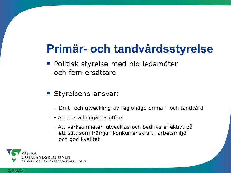 2014-08-23 Primär- och tandvårdsstyrelse  Politisk styrelse med nio ledamöter och fem ersättare  Styrelsens ansvar: -Drift- och utveckling av region