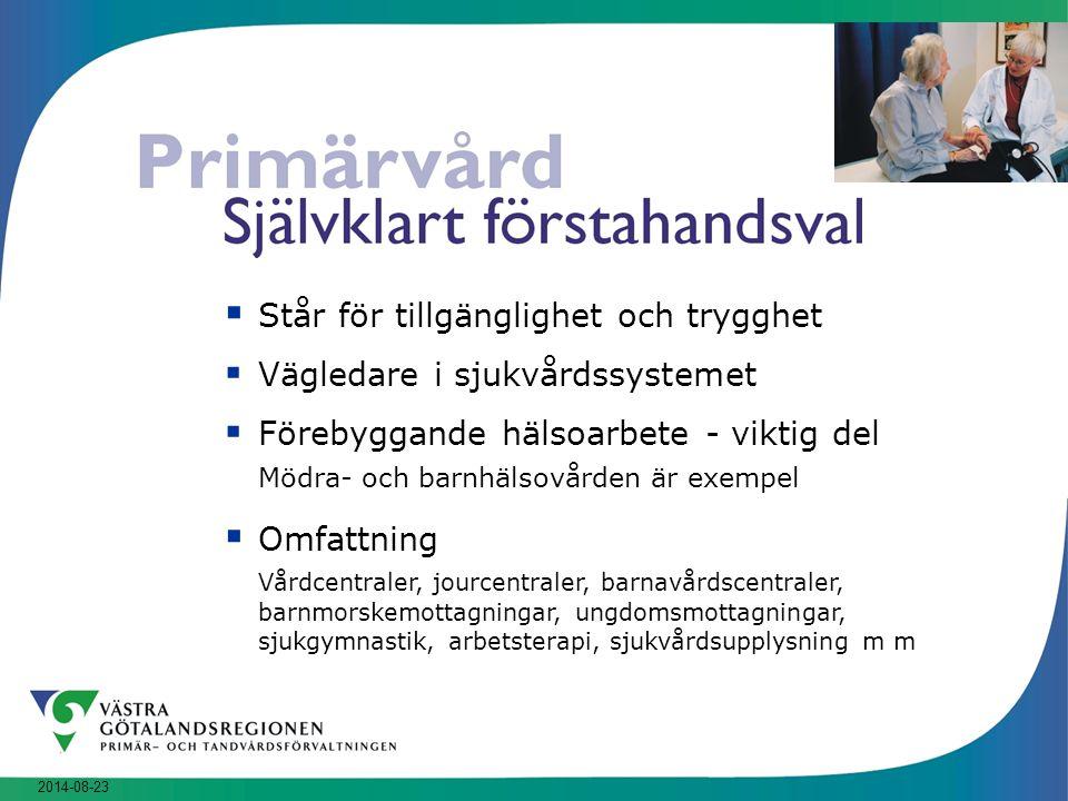 2014-08-23  Står för tillgänglighet och trygghet  Vägledare i sjukvårdssystemet  Förebyggande hälsoarbete - viktig del Mödra- och barnhälsovården ä