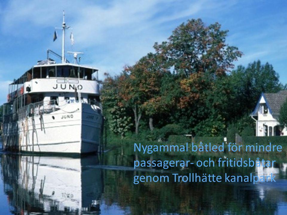 Nygammal båtled för mindre passagerar- och fritidsbåtar genom Trollhätte kanalpark