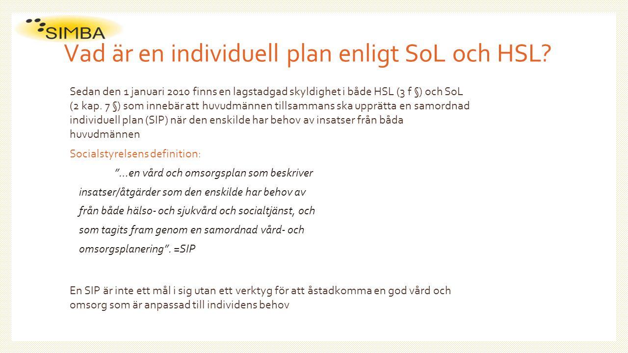 Vad är en individuell plan enligt SoL och HSL? Sedan den 1 januari 2010 finns en lagstadgad skyldighet i både HSL (3 f §) och SoL (2 kap. 7 §) som inn