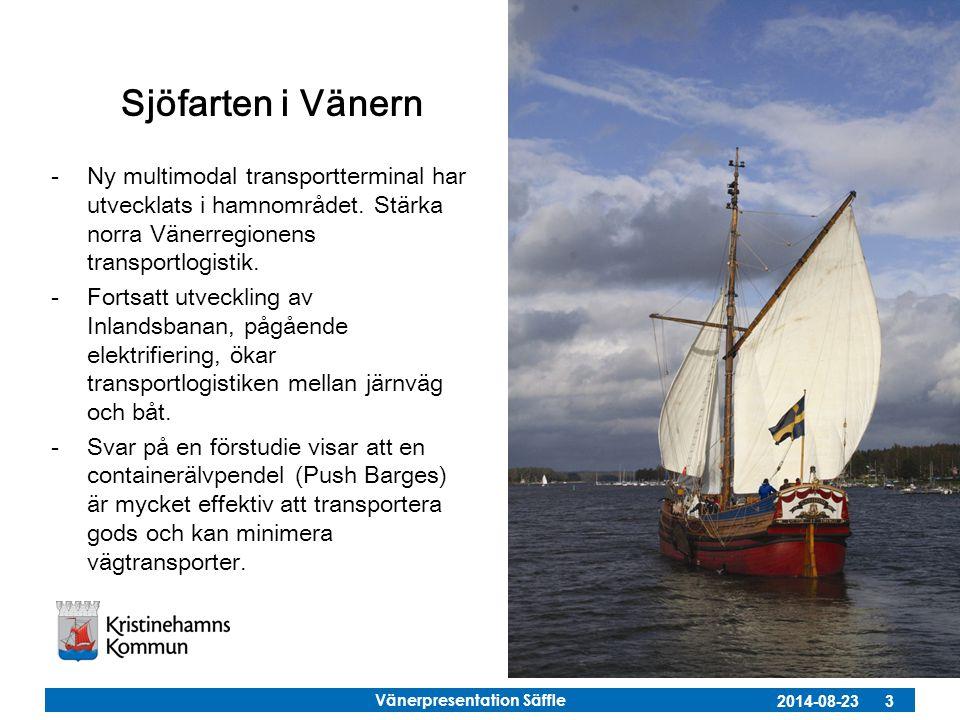 Vänerpresentation Säffle 2014-08-23 3 Sjöfarten i Vänern -Ny multimodal transportterminal har utvecklats i hamnområdet. Stärka norra Vänerregionens tr