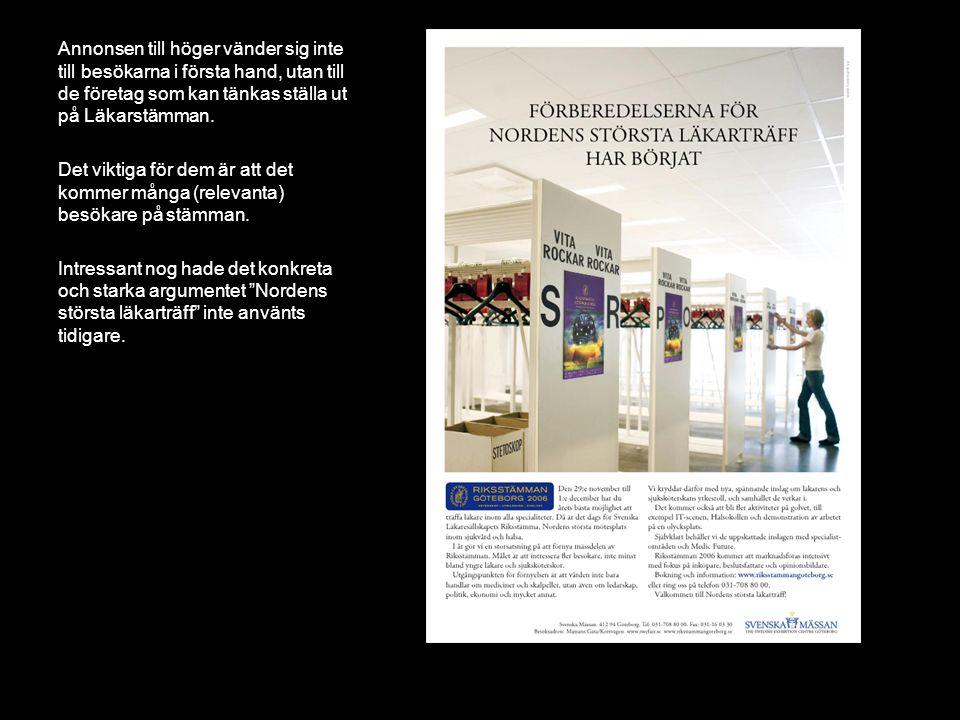 Annonsen till höger vänder sig inte till besökarna i första hand, utan till de företag som kan tänkas ställa ut på Läkarstämman.