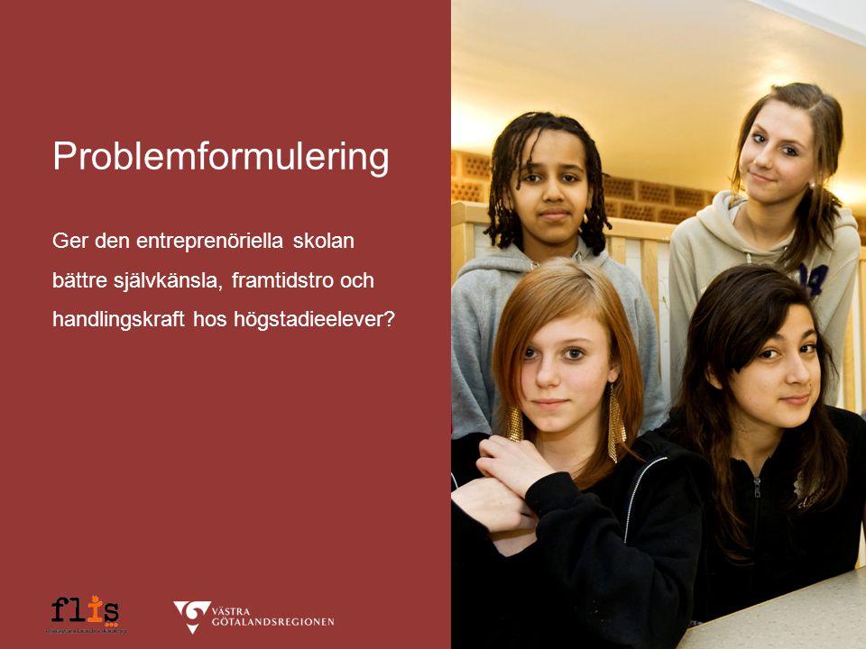 Problemformulering Ger den entreprenöriella skolan bättre självkänsla, framtidstro och handlingskraft hos högstadieelever