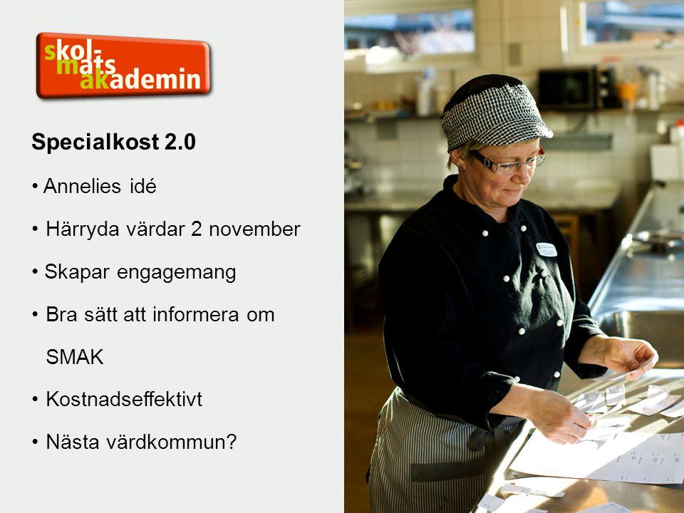 Specialkost 2.0 Annelies idé Härryda värdar 2 november Skapar engagemang Bra sätt att informera om SMAK Kostnadseffektivt Nästa värdkommun?